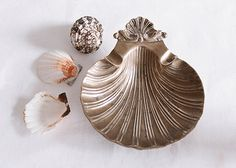 Vintage French Clam Shell Brass Ashtray / by Europetastetic