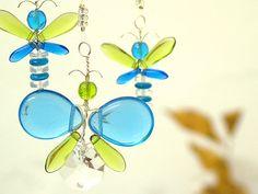 Blue Butterfly Mobile Crystal Suncatcher Green от bytheartisan