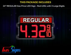 24 Inch REGULAR Gas Price LED Sign - Red LEDs with 3 Large Digits & fraction digits - Top Section lighted with housing dimension H963mm x W1560mm x D57mmand format 8.88 9/10 comes with complete set of Control Box, Power Cable, Signal Cable & 2 RF Remote Controls (Free remote controls).