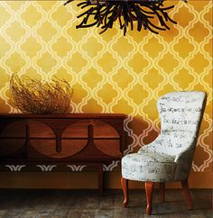 """Sunset in Morocco Wall Damask Old world Allover Designer Pattern Stencil better than wallpaper or vinyl decals Home Decor Size 22"""" x 34"""""""