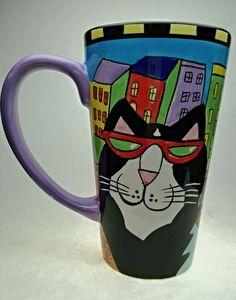 Catzilla Cat Coffee Mug Cup Candace Reiter 1999 Tall 16oz City Colorful USA
