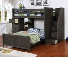 Buy the Allen House Full over Full Multifunction Loft Bed in Driftwood Gray Finish ; The Allen House Multifunction Loft Bed features solid wood construction and premium craftsmanship found in only the best furniture. Bunk Bed Rooms, Loft Bunk Beds, Bunk Beds With Stairs, Kids Bunk Beds, Space Saving Beds, Space Saving Furniture, Bed Furniture, Pallet Furniture, Furniture Design