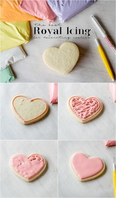 The best royal icing for decorating cookies. (simple icing recipe gingerbread houses) The best royal icing recipe for decorating cookies. Cupcakes, Cupcake Cookies, Icing For Sugar Cookies, Sugar Cookie Decorating Icing, Frosted Sugar Cookies, Heart Cookies, Best Frosting Recipe For Sugar Cookies, Thin Icing Recipe, Sugar Cooking Icing