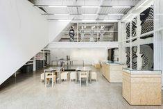 schemata architects converts tokyo factory for takahashi hiroko studio Japanese Architecture, Interior Architecture, Interior Design, Chipboard Interior, Work Office Design, Industrial Restaurant, News Studio, Space Gallery, Japanese House