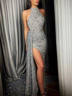 New Irregular Hem Silver Halter Evening Dress - Evening Dresses Pretty Dresses, Sexy Dresses, Beautiful Dresses, Evening Dresses, Fashion Dresses, Summer Dresses, Silver Evening Gowns, Casual Dresses, Elegant Evening Gowns