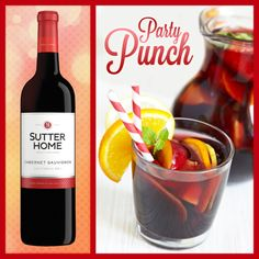 It's definitely award season! If you're hosting an award-viewing party, be sure to make some tasty party punch.   In a large punch bowl pour 2 bottles of Sutter Home Cabernet Sauvignon. Add in 1 cup of simple syrup and the following chopped fruits: 2 apples, 1 orange, 2 pears, 1 lemon. Stir and serve with fun, party straws!
