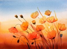 """""""Poppies at Sunset II""""Watercolor , painting by artist Meltem Kilic"""