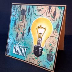 light bulb stamp set which includes shine bright sentiment stamp and inspiring quote Card Making Inspiration, Art Journal Inspiration, 2017 Inspiration, Light Bulb Art, Image Stamp, Let It Shine, Art Journal Pages, Greeting Cards Handmade, Amazing Art