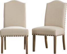Kenleigh Urban Style Solid Wood Nailhead Fabric Padded Parson Chair