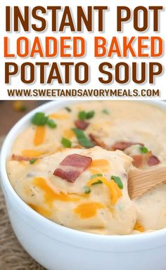 Instant Pot Loaded Baked Potato Soup Instant Pot Loaded Baked Potato Soup is incredibly creamy and satisfying. The soup is easy to make and ready in just under one hour, with minimum effort! Best Instant Pot Recipe, Instant Pot Dinner Recipes, Instant Pot Pressure Cooker, Pressure Cooker Recipes, Pressure Cooking, Potato Soup Pressure Cooker, Pressure Pot, Loaded Baked Potato Soup, Crockpot Baked Potato Soup