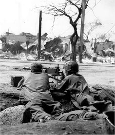 American Browning M1919A4 machine gun on the streets of Manila in the Philippines February 1945