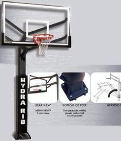 SO Huffy Hydra-Rib 72 Inch Glass Backboard Basketball System & Pole Pad