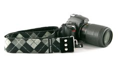 A more masculine look with the argyle camera strap.