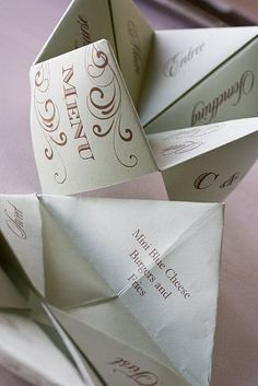 These could be used as invitations too, we had them as games on our tables and in this case they show the menu. :D