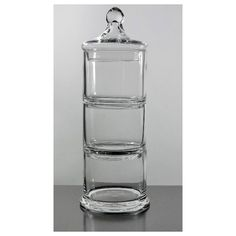 "3 Apothecary stackable glass jars 12.5"" tall $11 found on Polyvore"