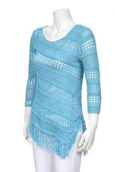 Curio Aqua Fringe Sweater