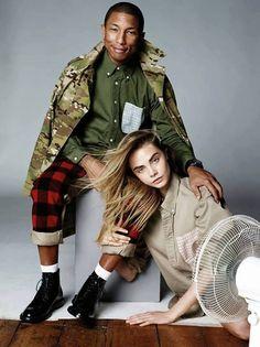 Snapshot: Pharrell Williams and Cara Delevingne by David Bailey for Vogue UK September 2013 Vogue Uk, Vogue Photo, Pharrell Williams, Cara Delevingne, Fashion Shoot, Editorial Fashion, Fashion Models, Fashion Trends, Men's Fashion