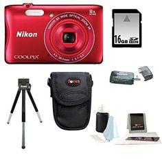 Nikon COOLPIX S3700 Camera (Red) 16GB Kit | Focus Camera