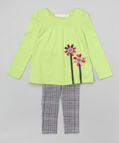 Look at this #zulilyfind! Lime Tunic & Leggings - Infant, Toddler & Girls by Kids Headquarters #zulilyfinds
