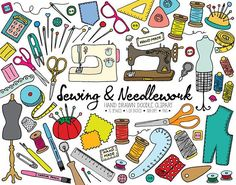 75 image hand drawn doodle sewing, needlework, dressmaking and crafts clip art pack. Set includes digital sewing supplies, vintage sewing machine, scissors, tailors chalk, dressmaking mannequin, lace, buttons, thread spools, bobbin, thread snips, handmade lebels, serger spool,