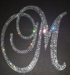 "6"" Crystal Monogram Cake Topper Brush Metal"
