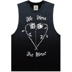 UNIF We Were The Worst (£41) ❤ liked on Polyvore featuring tops, shirts, tank tops, tanks, sleeveless t-shirts, sleeveless tank tops, sleeveless t shirt, no sleeve shirts y sleeveless tank