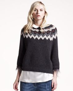 Brunello Cucinelli intarsia sweater with removable feather trim at sleeves.