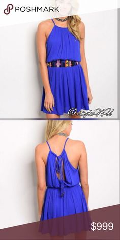 COMING Soon! Sleeveless dress Fantastic royal blue dress that you will have fun wearing! Beautifully designed with tie in the back, leaving it quite exposed. Great for parties, dates, shopping, date night etc            Shell: 100% Rayon. Lining: 100% Cotton. Sizes and measurements once dresses are received! Dresses