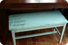 """""""Next to you is where I belong"""" Love this bench!"""