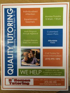 Math Tutoring Flyer  Tutoring    Math Postcard