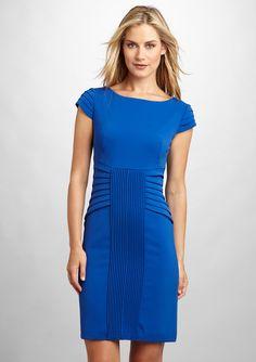 cobalt pleat sheath dress