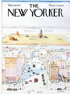 """A New Yorker's view of the world. [[MORE]] TMWNN: """" By Saul Steinberg, """"View of the World from Avenue"""" is probably the most famous cover of The New Yorker magazine in its history, immortalized on. The New Yorker, New Yorker Covers, Saul Steinberg, Apple Maps, New Yorker Cartoons, Capas New Yorker, Magazin Covers, Cool Magazine, Magazine Art"""