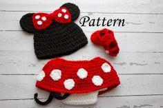 407ca9a551beb Crochet PATTERN - Newborn to 12 months Minnie Mouse set Photo Prop Set  -Instant Download PDF- Photography Prop Pattern