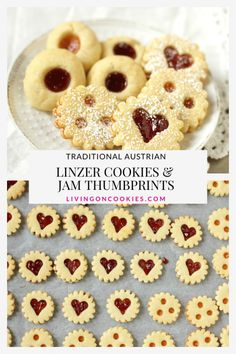 Linzer Cookies & Jam Thumbprints: One dough, two cookies. We love these tender and buttery shortbread cookies and they are an absolute MUST at Christmas. Thumbprint Cookies Recipe, Easy Linzer Cookies Recipe, Yummy Cookies, Xmas Food, Christmas Cooking, Christmas Christmas, Christmas Foods, German Christmas Cookies, Cookies