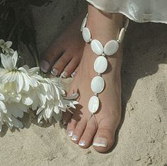 Beach Wedding Mother of Pearl Barefoot Sandals Crochet Barefoot Sandals, Barefoot Shoes, Beach Foot Jewelry, Slave Bracelet, 25th Wedding Anniversary, Ibiza Fashion, Wedding Honeymoons, Bare Foot Sandals, Jewelry Crafts