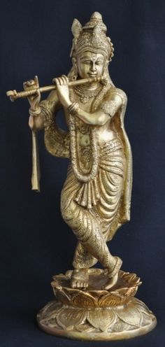 "Lord Krishna Hindu God of Love Playing Flute Brass Statue Krishna 16"" Sculpture   Statue India   Online Statues"