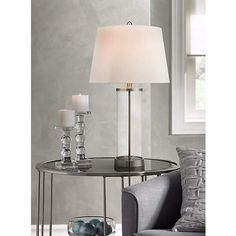 Glass and Steel Cylinder Fillable Table Lamp - #X1219 | LampsPlus.com