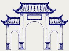 Ancient Chinese gate vector art illustration