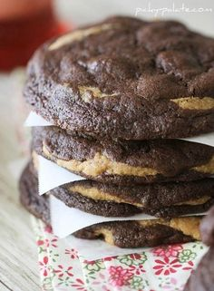 Decadent Chocolate Fudge Peanut Butter Cookie Stuffed Cookies perfect for cookie exchanges!
