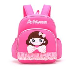 Rose Red Cotton Stylish Ruched Fine Toddler Book Bag Personalized Cute Girl Face With Polka Dot