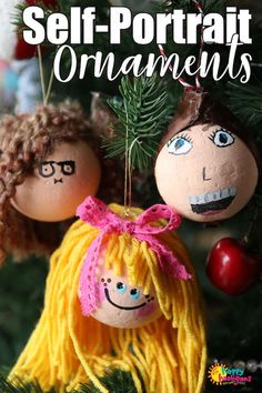 Kids can turn a styrofoam ball into a self-portrait ornament for the Christmas tree with a little paint and yarn. Easy, adorable and so much fun to make. Holiday Crafts For Kids, Christmas Activities, Activities For Kids, Travel Activities, Homemade Christmas, Kids Christmas, Christmas Crafts, Homemade Ornaments, Styrofoam Ball Crafts