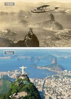 Rio de Janeiro, Brezilya - Travel tips - Travel tour - travel ideas Then And Now Pictures, Before And After Pictures, Old Pictures, Old Photos, Abu Dhabi, Christ The Redeemer, Jesus Christ, Photos Voyages, World Cities