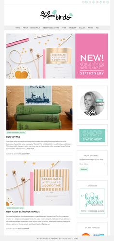 Stationery and printables blog, running on Isabelle premade WordPress theme.