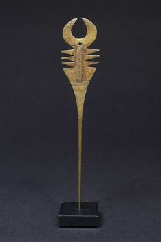 Africa | Hairpin from the Lobi people of  Burkina Faso | Brass | Early 20th century