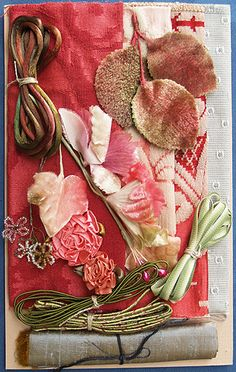 Product Details - Nifty Thrifty Dry Goods: Fabric & Trim Assortment - Rose & Neutral, Embellishment Assortments, Fabric-Asst-Rose-Neutral