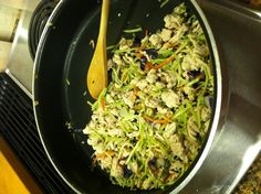 Turkey slaw wraps - super low fat/carb.  Sauté onion, minced garlic, brown lean ground turkey breast. Add seasonings of choice, bag of broccoli slaw and cook until desired doneness. Serve in tortilla with sour cream, salsa, etc.  Thanks Lisa!!