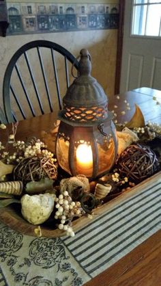 Centerpiece vintage dough bowl /  stone bird / lantern / no season
