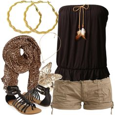 Brown strapless top with cute detail! Gladiator sandals