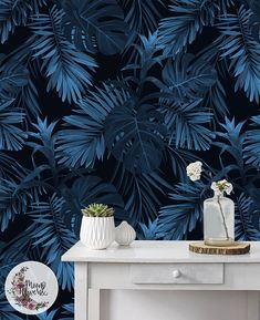 Dark leaves wallpaper, Leaf watercolor removable wallpaper, Leaves on the black background wall mural, Reusable, Peel and stick MAF004