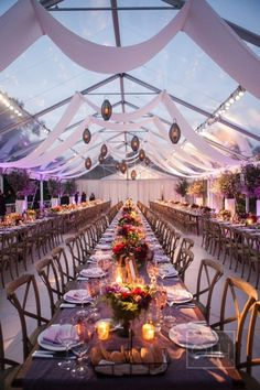 (Back wall full drape) Clear tent, swagged ceiling treatment and long king's table settings. Perfection. Photography By / christianothstudi..., Planning   Coordination By / charmedplaces.com, Wedding Design   Floral Design By / frankalexandernyc...